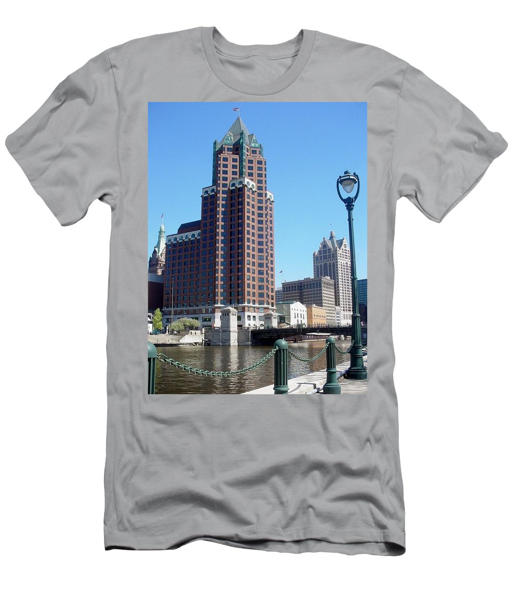 Milwaukee Men's T-Shirt (Athletic Fit) featuring the photograph River Walk View Photo by Anita Burgermeister