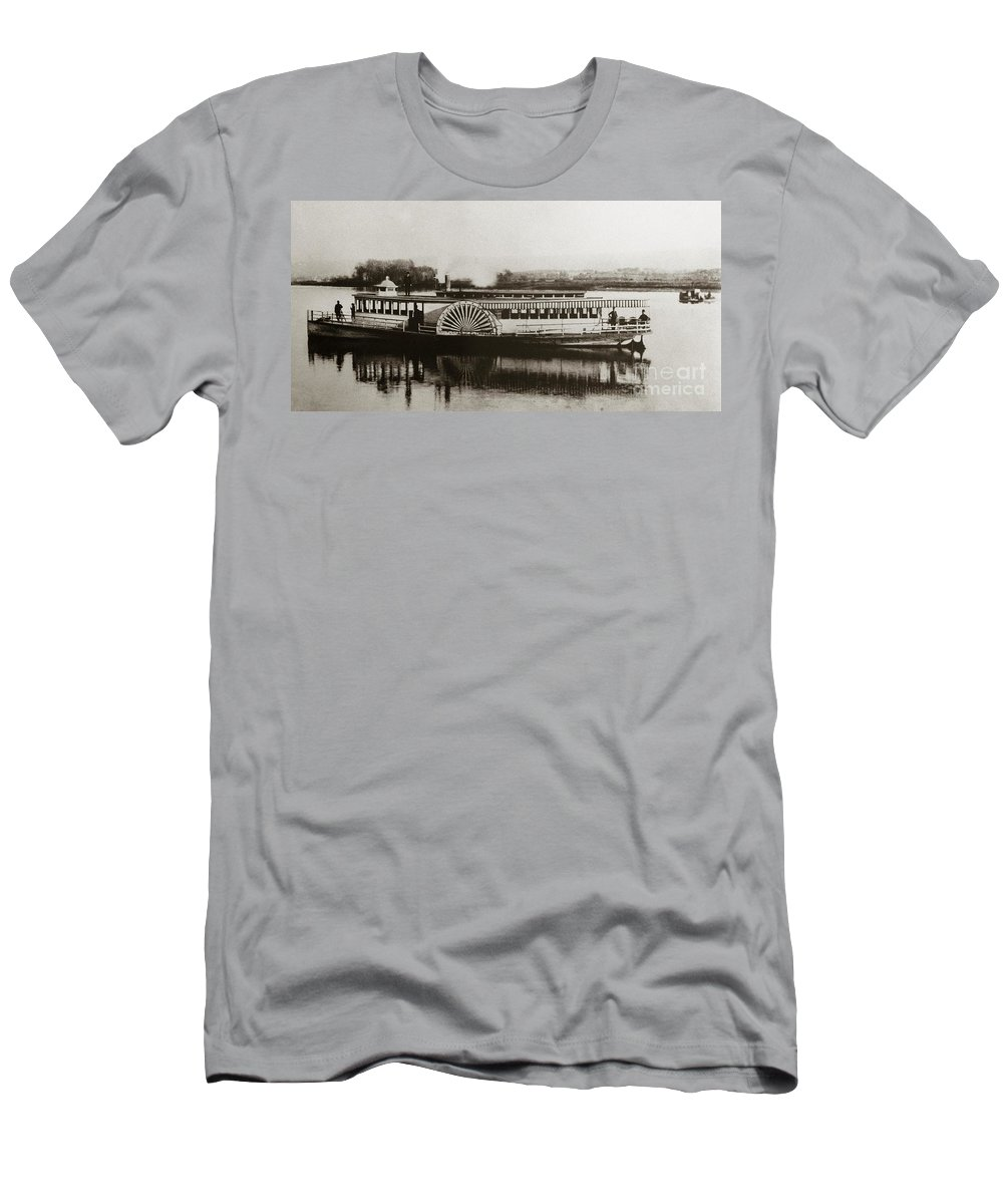 Riverboat Men's T-Shirt (Athletic Fit) featuring the photograph Riverboat Mayflower Of Plymouth  Susquehanna River Near Wilkes Barre Pennsylvania Late 1800s by Arthur Miller
