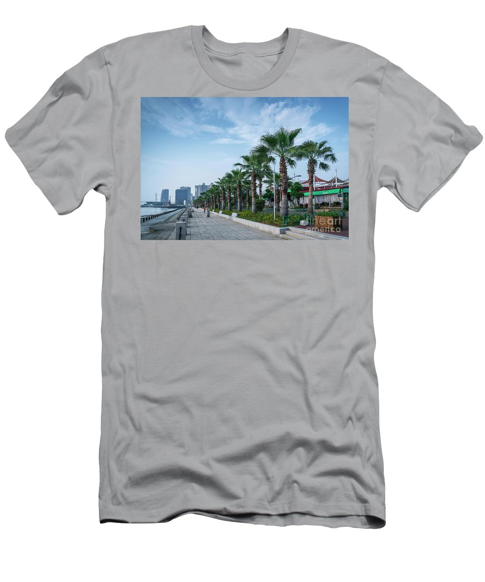 Architecture Men's T-Shirt (Athletic Fit) featuring the photograph Riverside Promenade Park And Skyscrapers In Downtown Xiamen City by Jacek Malipan