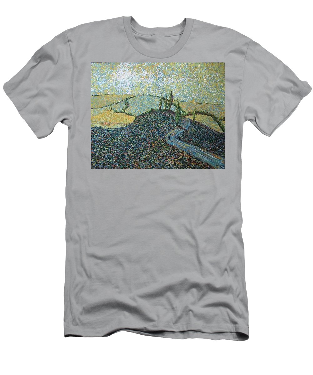 Landscape Men's T-Shirt (Athletic Fit) featuring the painting Road To Tuscany by Stefan Duncan