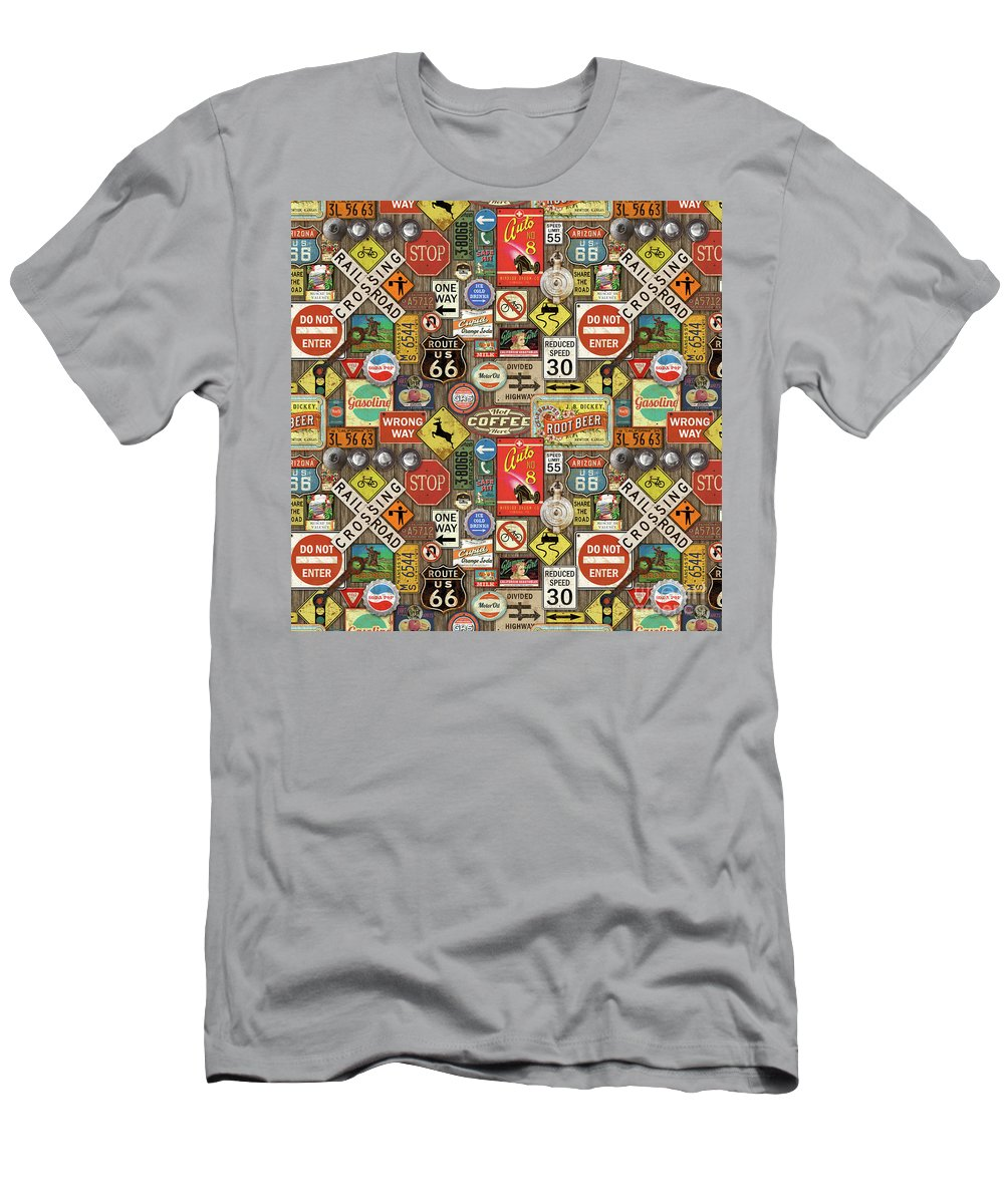 Route 66 T-Shirt featuring the painting Roads Signs On Wood-jp3958-b by Jean Plout
