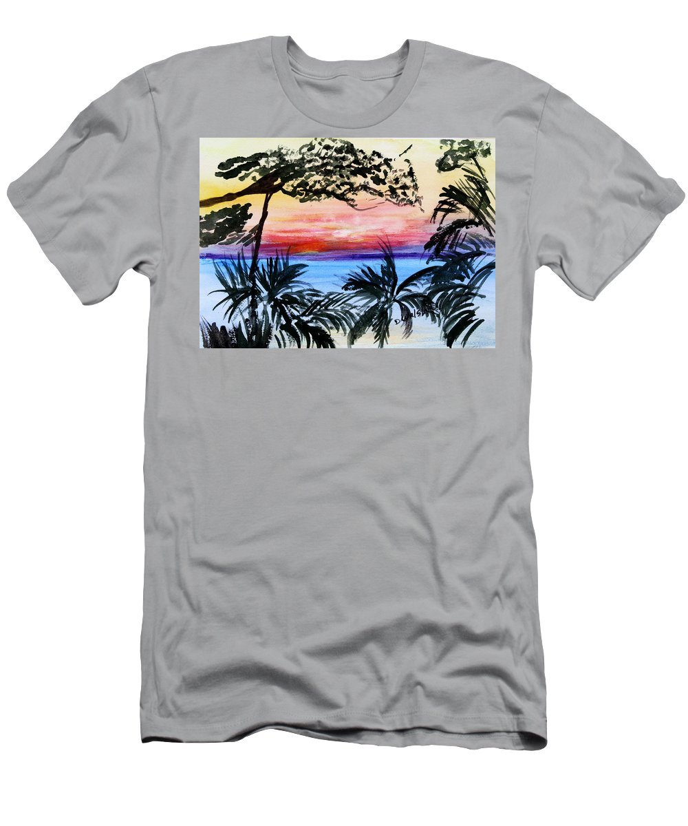 Tropical Men's T-Shirt (Athletic Fit) featuring the painting Roatan Sunset by Donna Walsh
