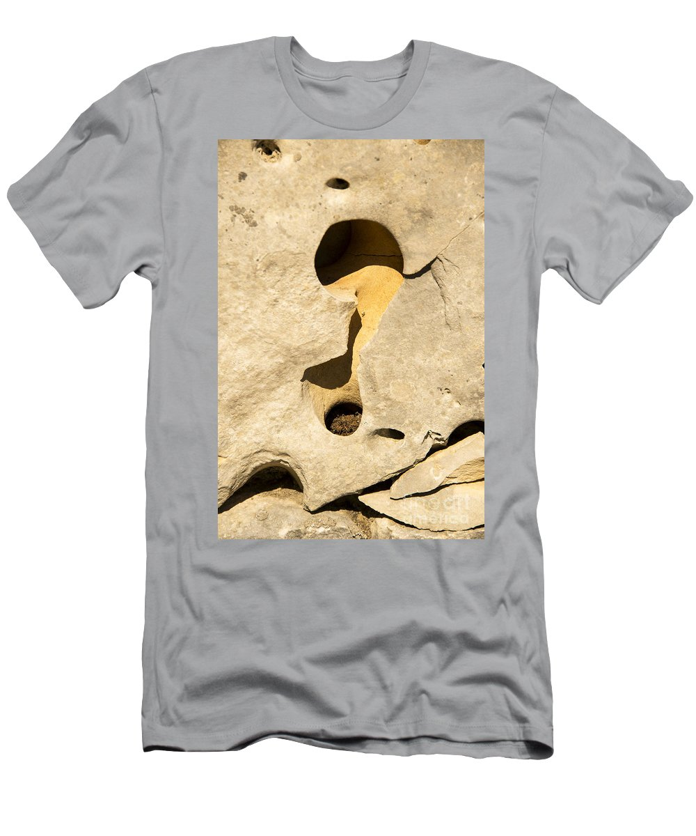 Wimberley Texas Light Shadow Shadows Rock Rocks Sand Stone Stones Odds And Ends Abstract Men's T-Shirt (Athletic Fit) featuring the photograph Rock And Sand by Bob Phillips