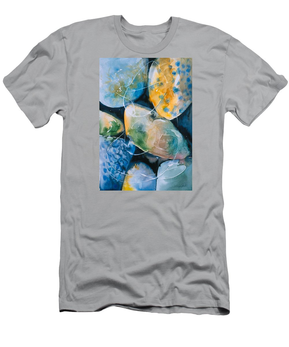 Water Men's T-Shirt (Athletic Fit) featuring the painting Rock In Water by Allison Ashton