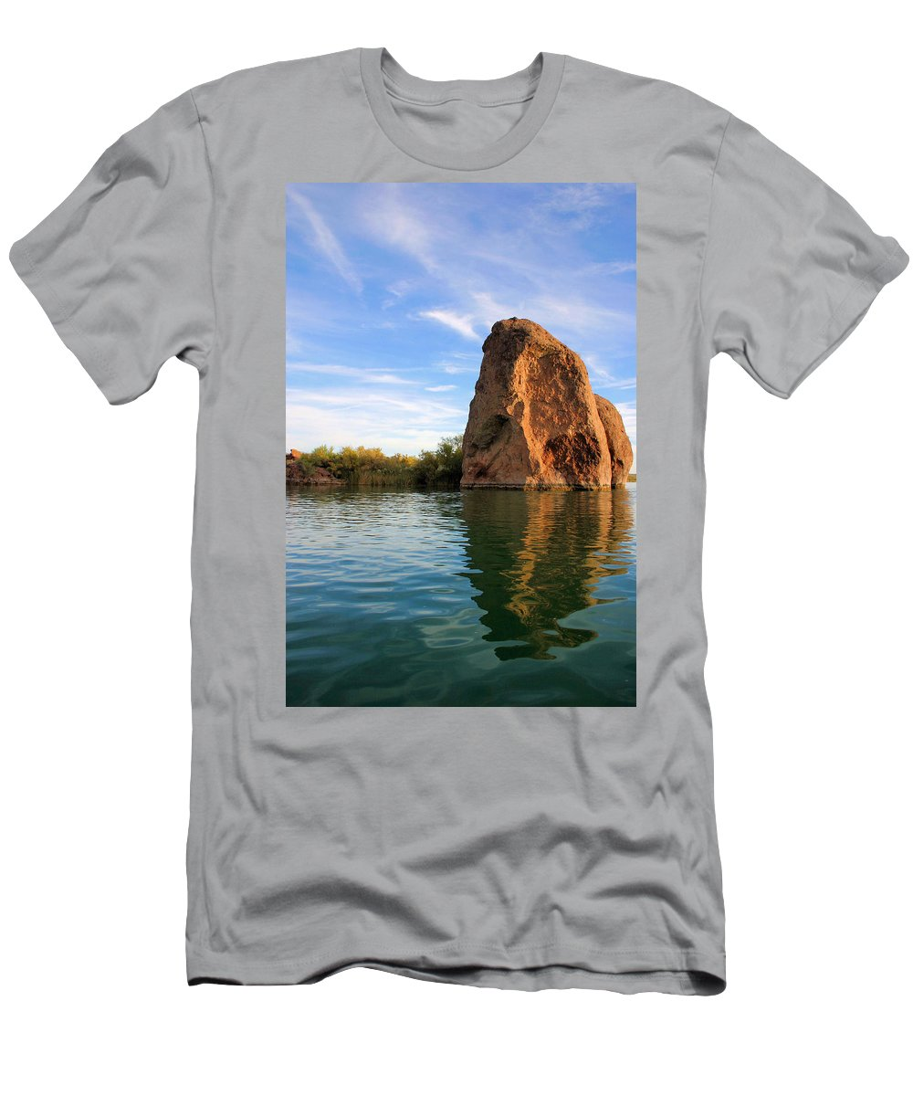 Stone Men's T-Shirt (Athletic Fit) featuring the photograph Rock Reflected by Kristin Elmquist