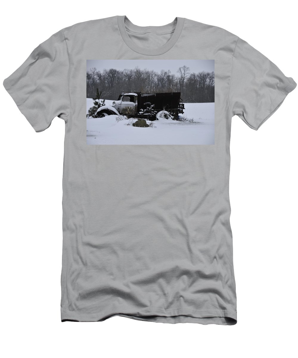 Dump Truck Men's T-Shirt (Athletic Fit) featuring the photograph Rocks B Us 2 by David Arment