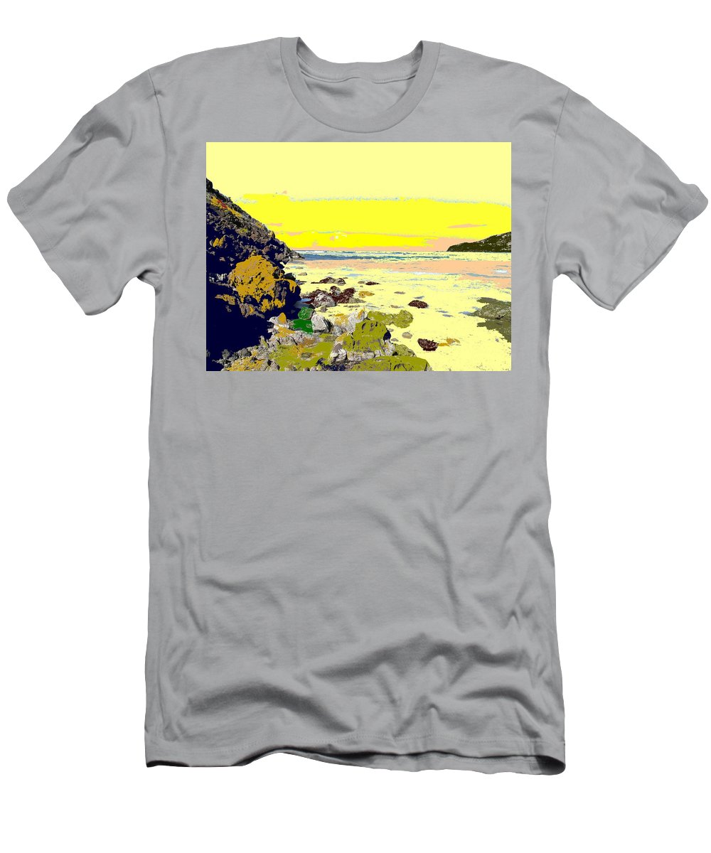 Beach Men's T-Shirt (Athletic Fit) featuring the photograph Rocky Beach by Ian MacDonald