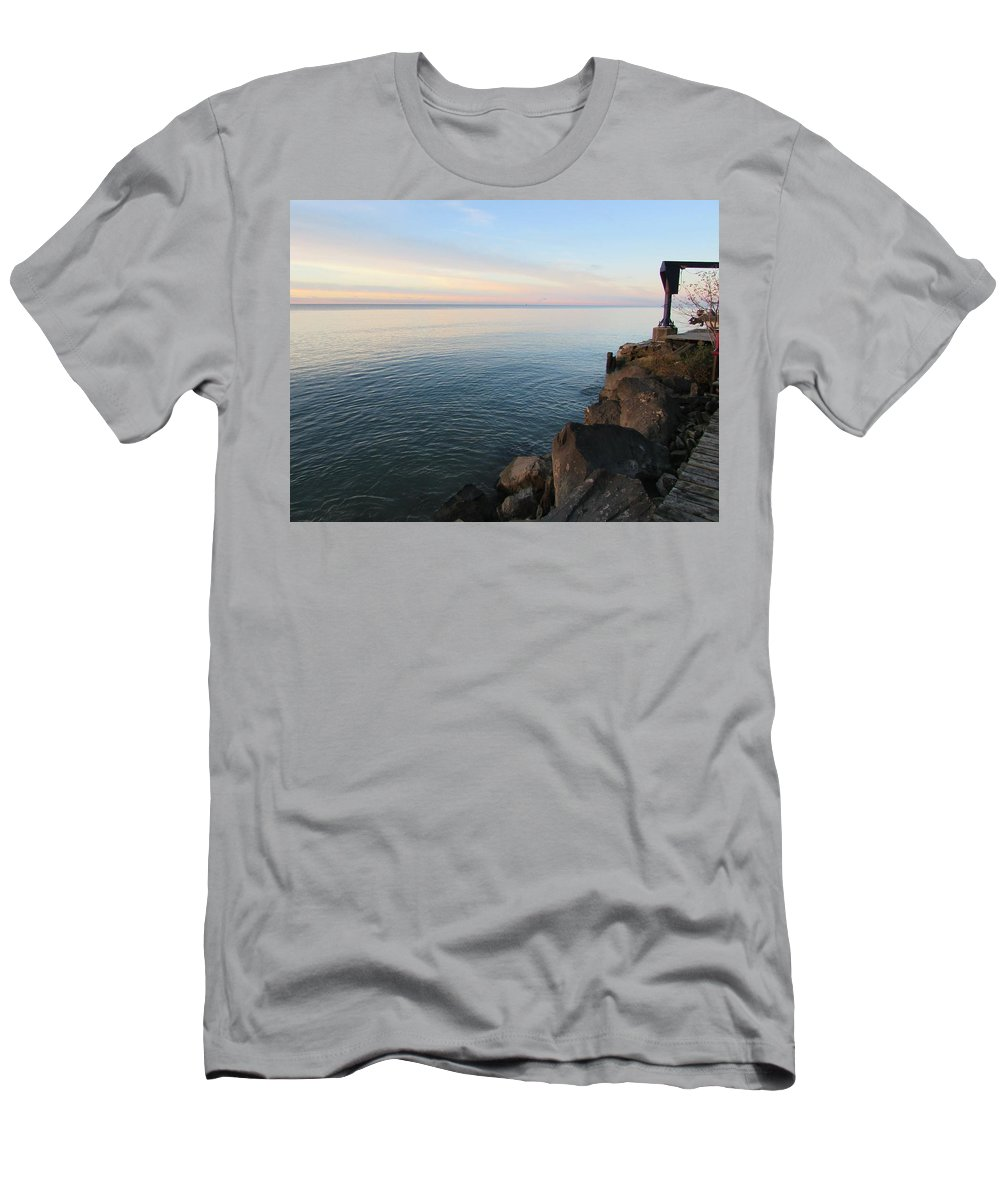 Great Lake Men's T-Shirt (Athletic Fit) featuring the photograph Rocky Coast by Juli Kreutner