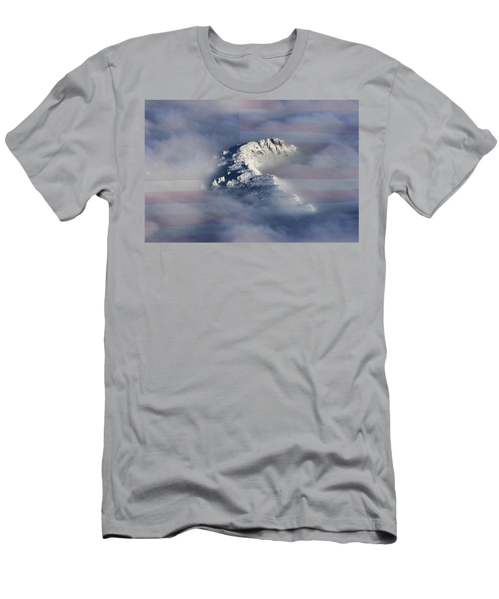 Rocky Mountains Men's T-Shirt (Athletic Fit) featuring the photograph Rocky Mountain High - America The Beautiful by James BO Insogna