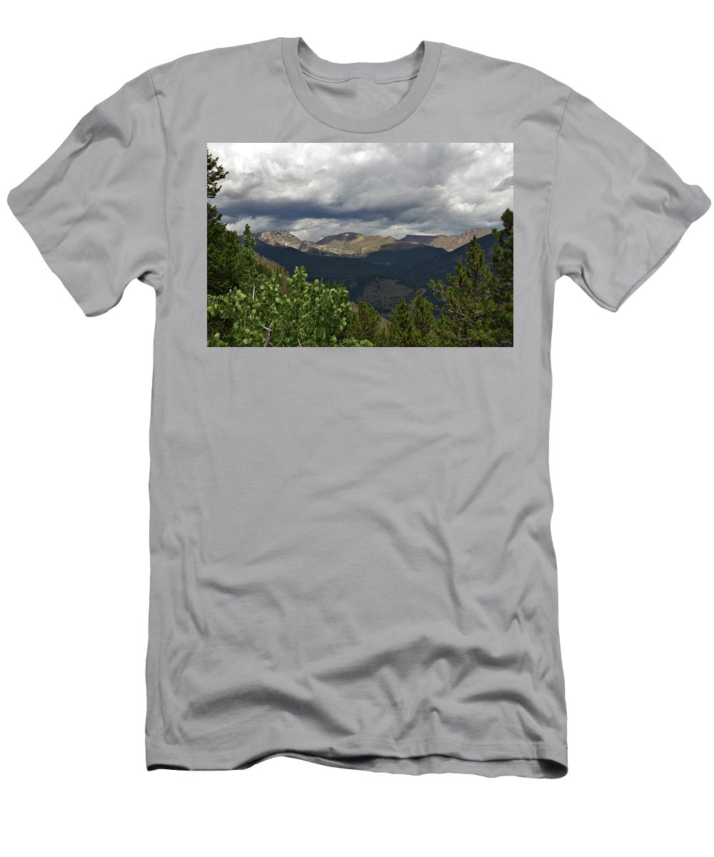 Clouds Men's T-Shirt (Athletic Fit) featuring the photograph Rocky Mountain National Park 2 by Brian Kenney