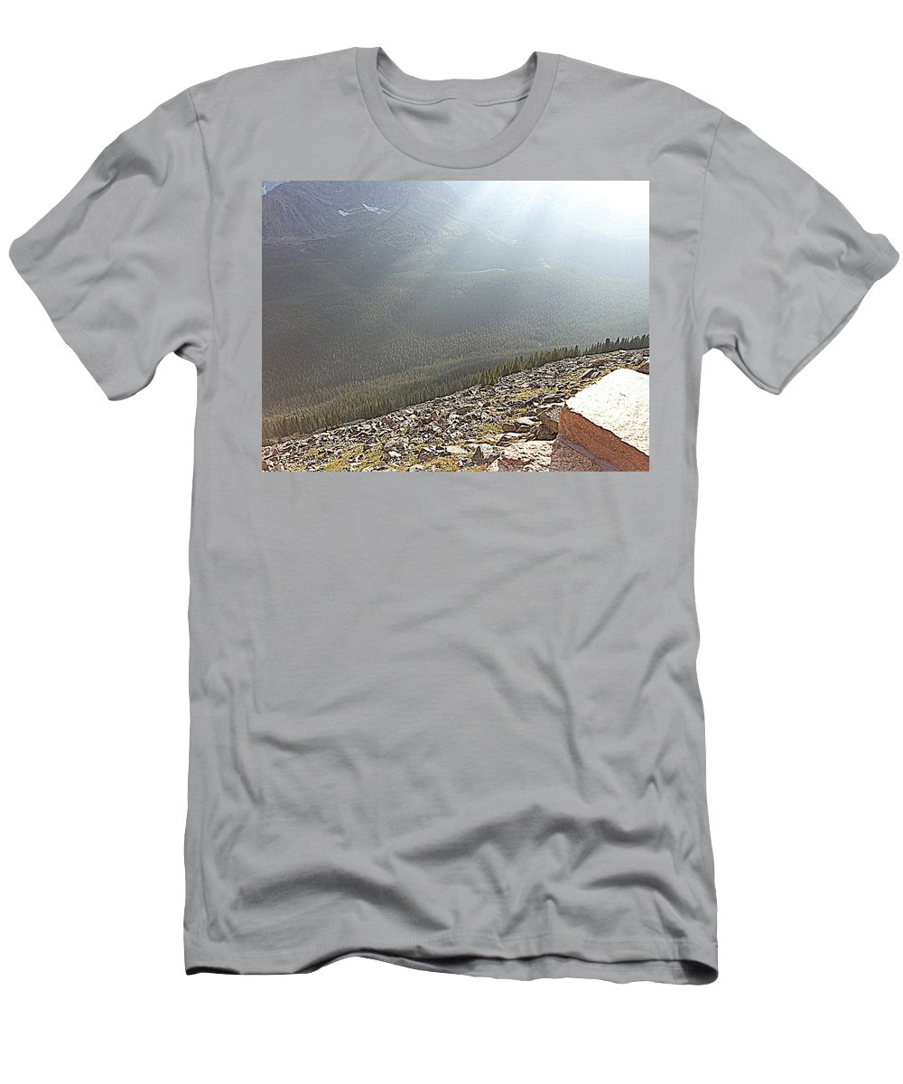 Landscape Men's T-Shirt (Athletic Fit) featuring the photograph Rocky Mountain Sunbeam II by Lesli Sherwin