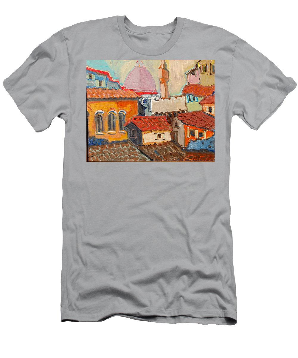 Florence Men's T-Shirt (Athletic Fit) featuring the painting Rooftops by Kurt Hausmann