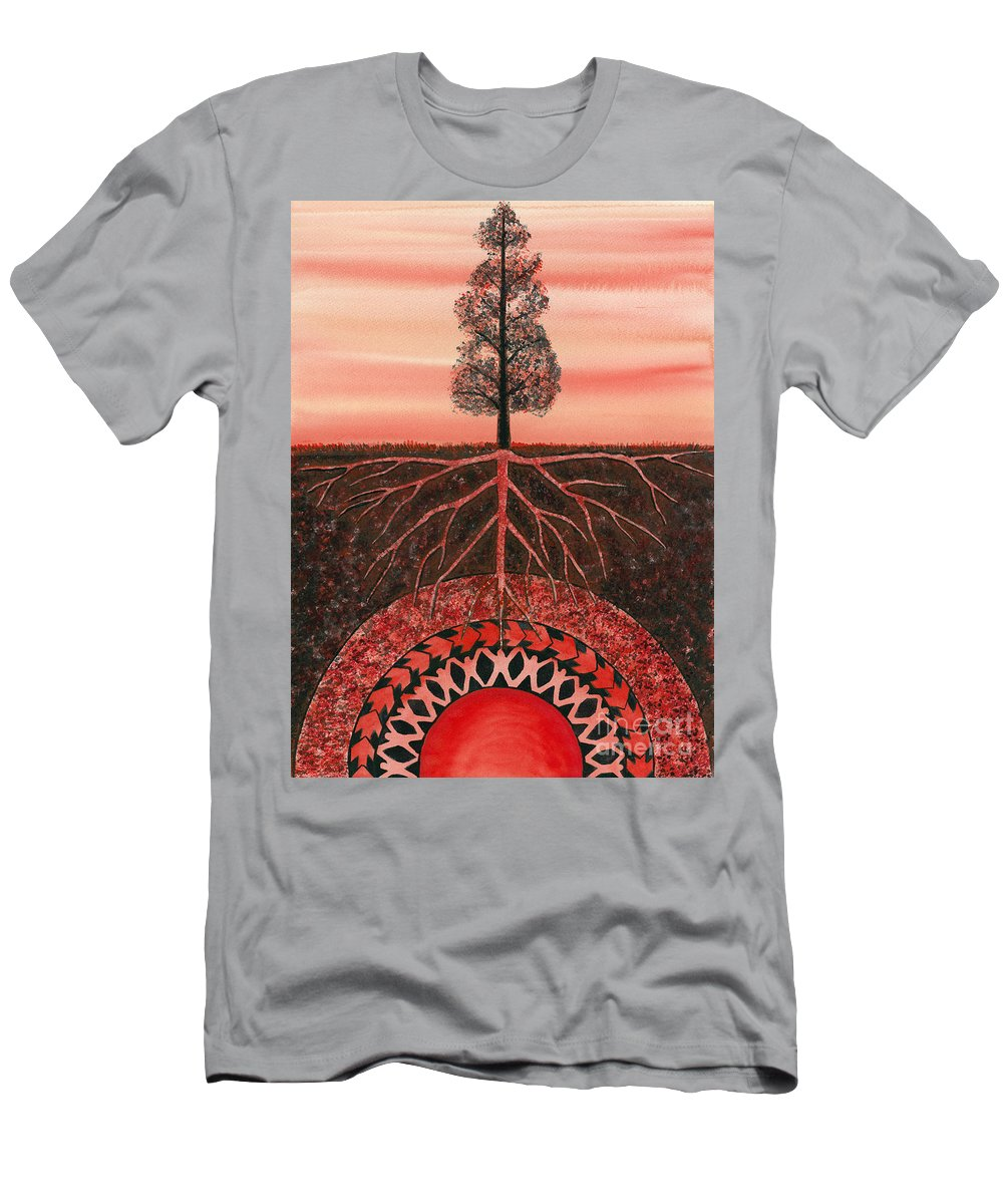 Chakra Men's T-Shirt (Athletic Fit) featuring the painting Root Chakra by Catherine G McElroy