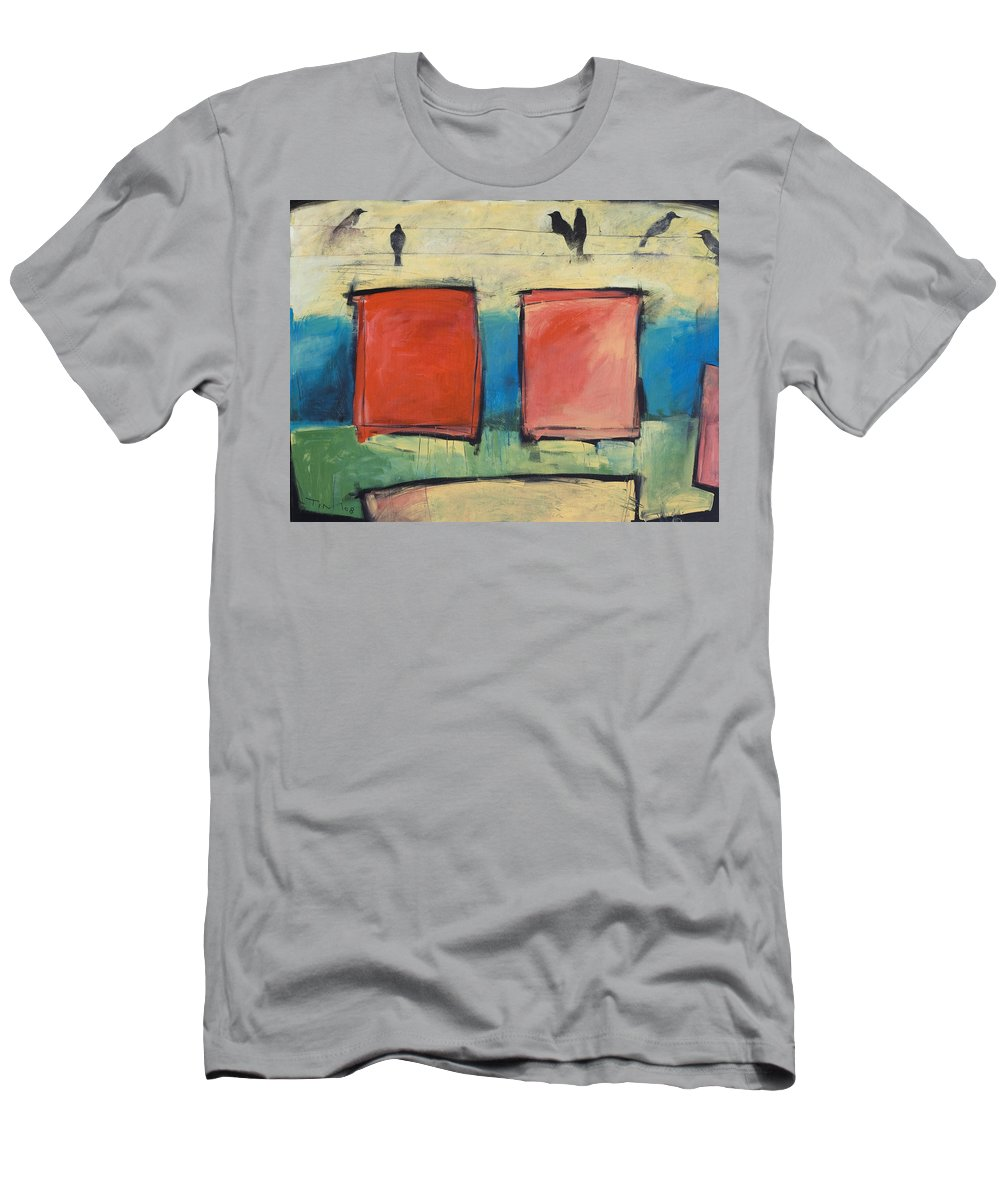 Rothko Men's T-Shirt (Athletic Fit) featuring the painting Rothko Meets Hitchcock by Tim Nyberg