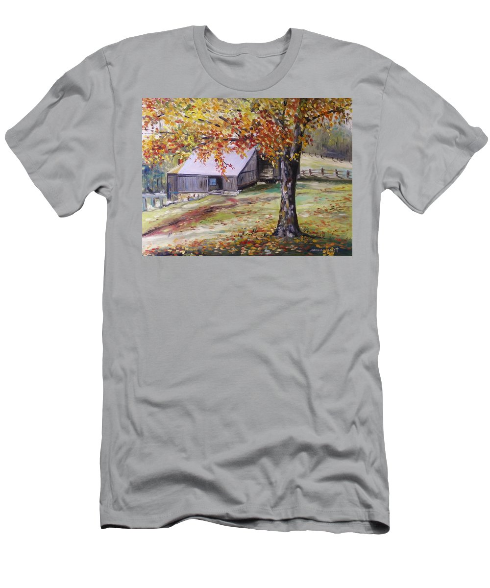 Oil Men's T-Shirt (Athletic Fit) featuring the painting Rouge Red Chimney by John Williams