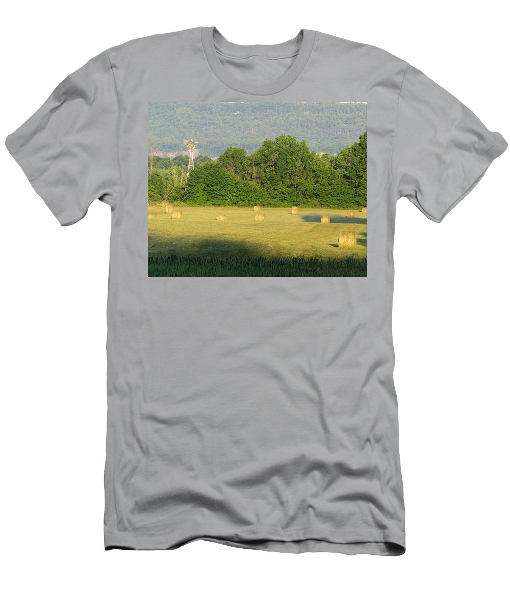 Outdoors Men's T-Shirt (Athletic Fit) featuring the photograph Round Bales by Norman Vedder