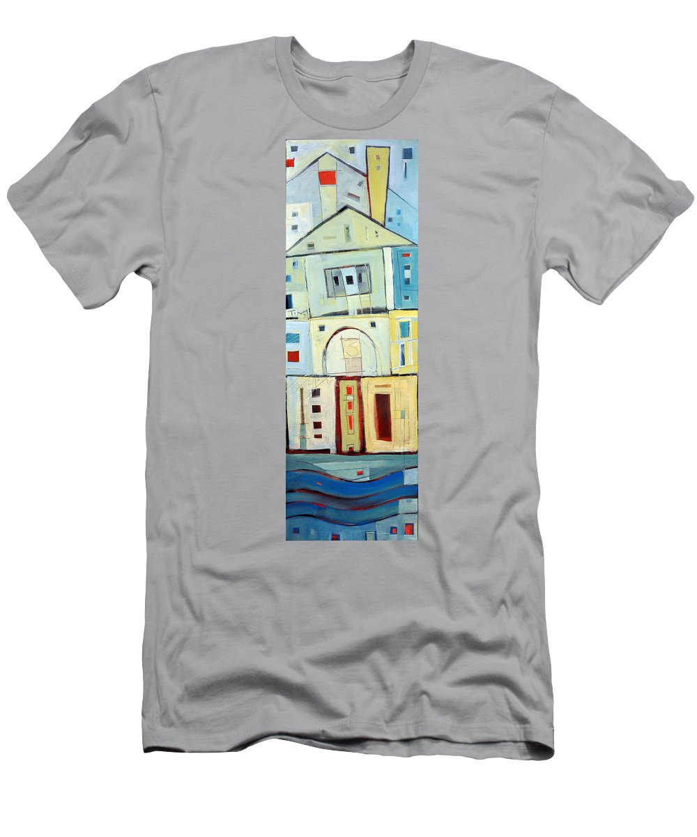House Men's T-Shirt (Athletic Fit) featuring the painting Rowhouse No. 3 by Tim Nyberg
