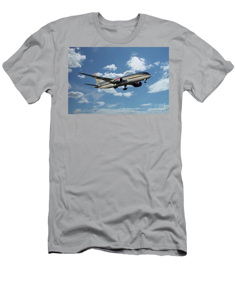 Boeing 787 Men's T-Shirt (Athletic Fit) featuring the digital art Royal Jordanian 787 Jy-baf by J Biggadike