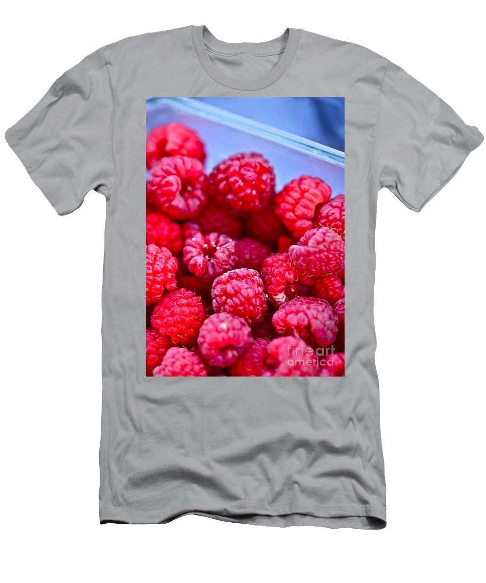 Red T-Shirt featuring the photograph Ruby Raspberries by Nadine Rippelmeyer
