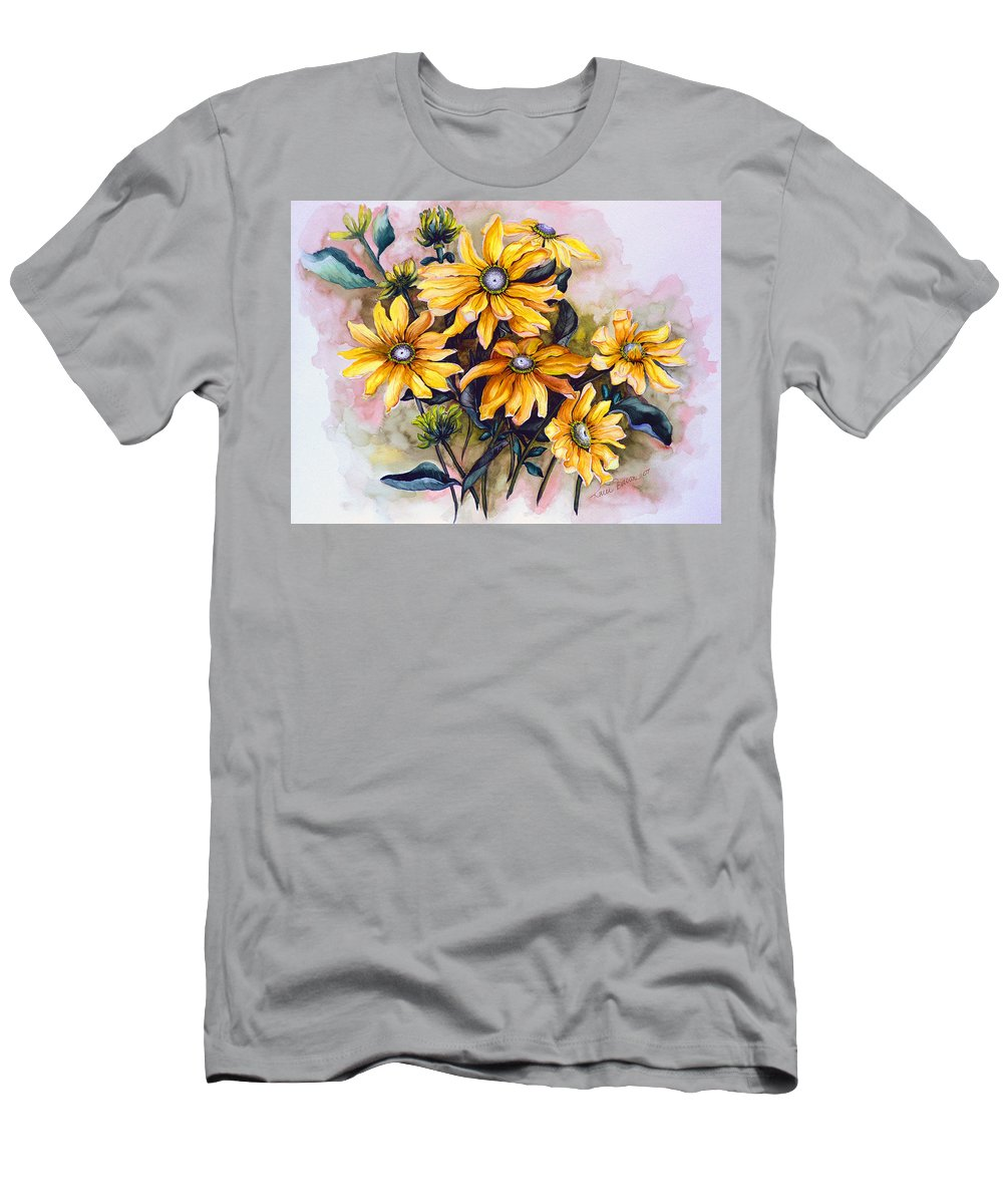 Flower Painting Sun Flower Painting Flower Botanical Painting  Original Watercolor Painting Rudebeckia Painting Floral Painting Yellow Painting Greeting Card Painting Men's T-Shirt (Athletic Fit) featuring the painting Rudbeckia Prairie Sun by Karin Dawn Kelshall- Best