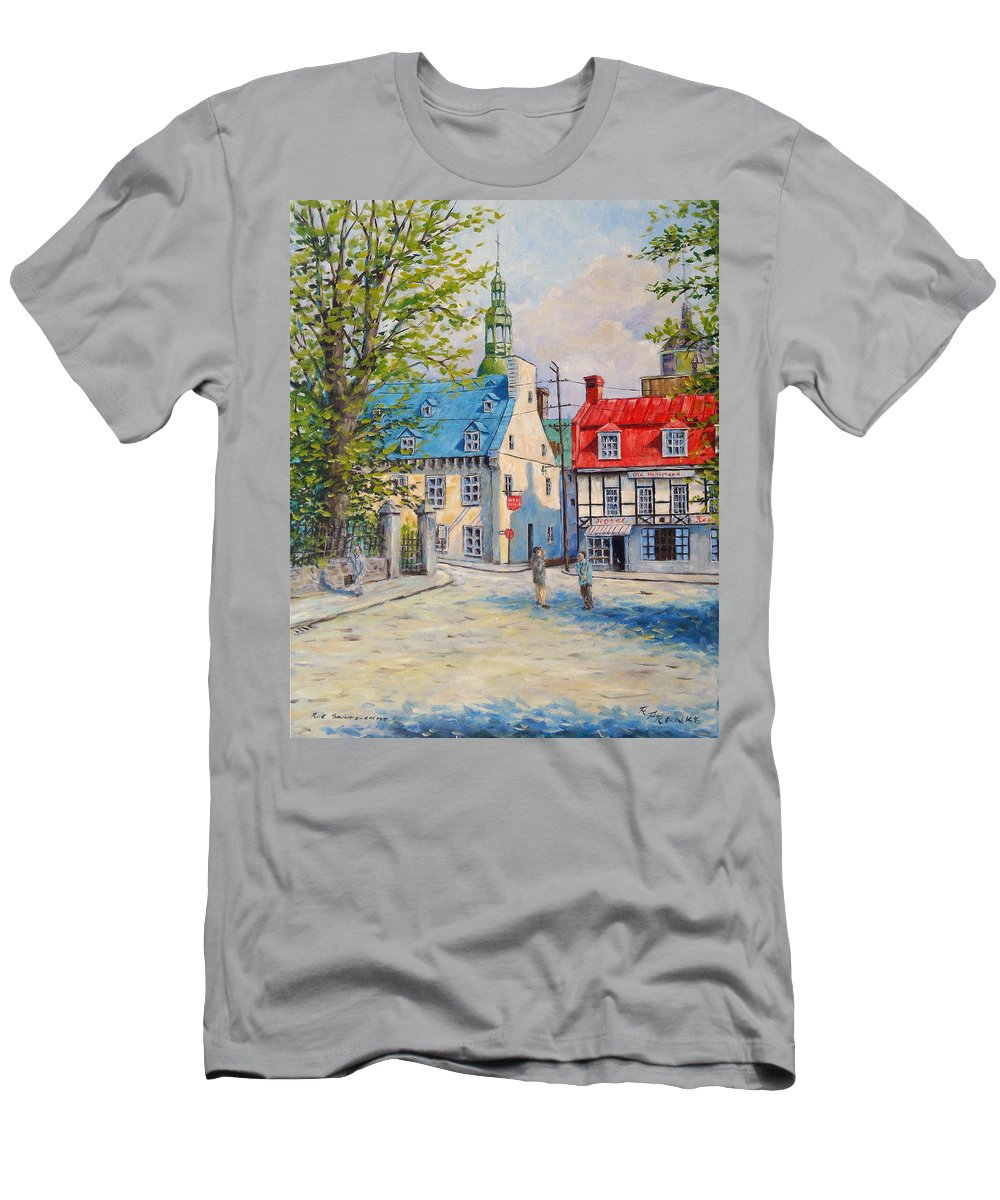 Ste Anne Men's T-Shirt (Athletic Fit) featuring the painting Rue Ste Anne 1965 by Richard T Pranke