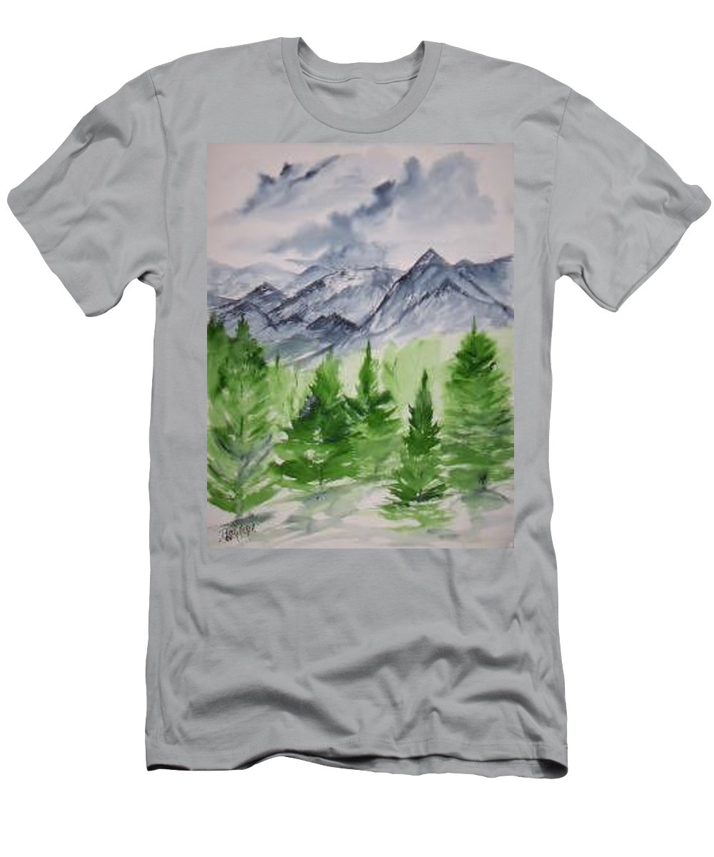 Plein Air Men's T-Shirt (Athletic Fit) featuring the painting Ruidoso Nm Southwestern Mountain Landscape Watercolor Painting Poster Print by Derek Mccrea