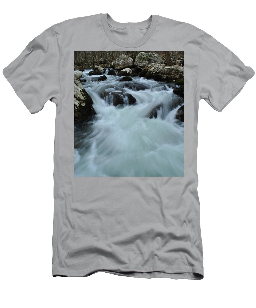 Water Men's T-Shirt (Athletic Fit) featuring the photograph Rushing Waters by Eric Liller