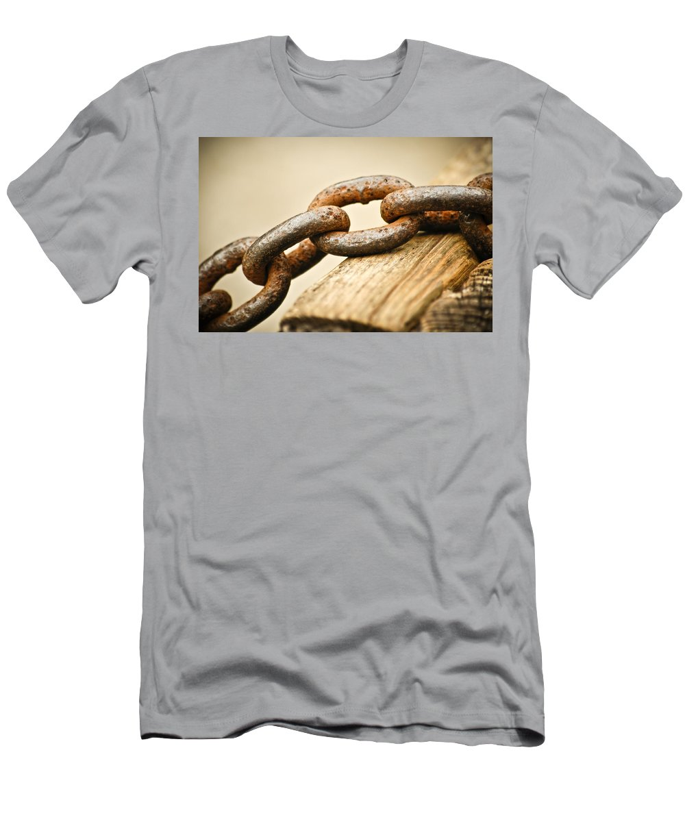 Chain Men's T-Shirt (Athletic Fit) featuring the photograph Rusted Strength by Carolyn Marshall