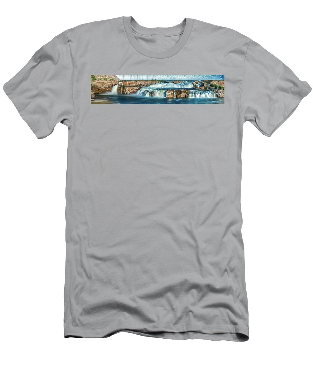 A Time Lapse Panorama Photograph Of Ryan Dam Near Great Falls T-Shirt featuring the photograph Ryan Dam Time Lapse by Todd Klassy