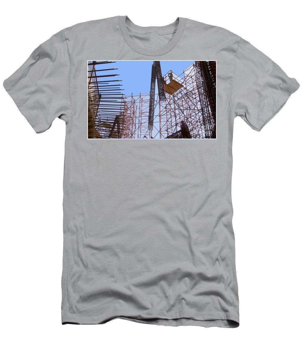Landmark Men's T-Shirt (Athletic Fit) featuring the photograph Sagrada Temple Barcelona Under Construction Since 1886 Artwork By Navinjosh At Fineartamerica.com by Navin Joshi
