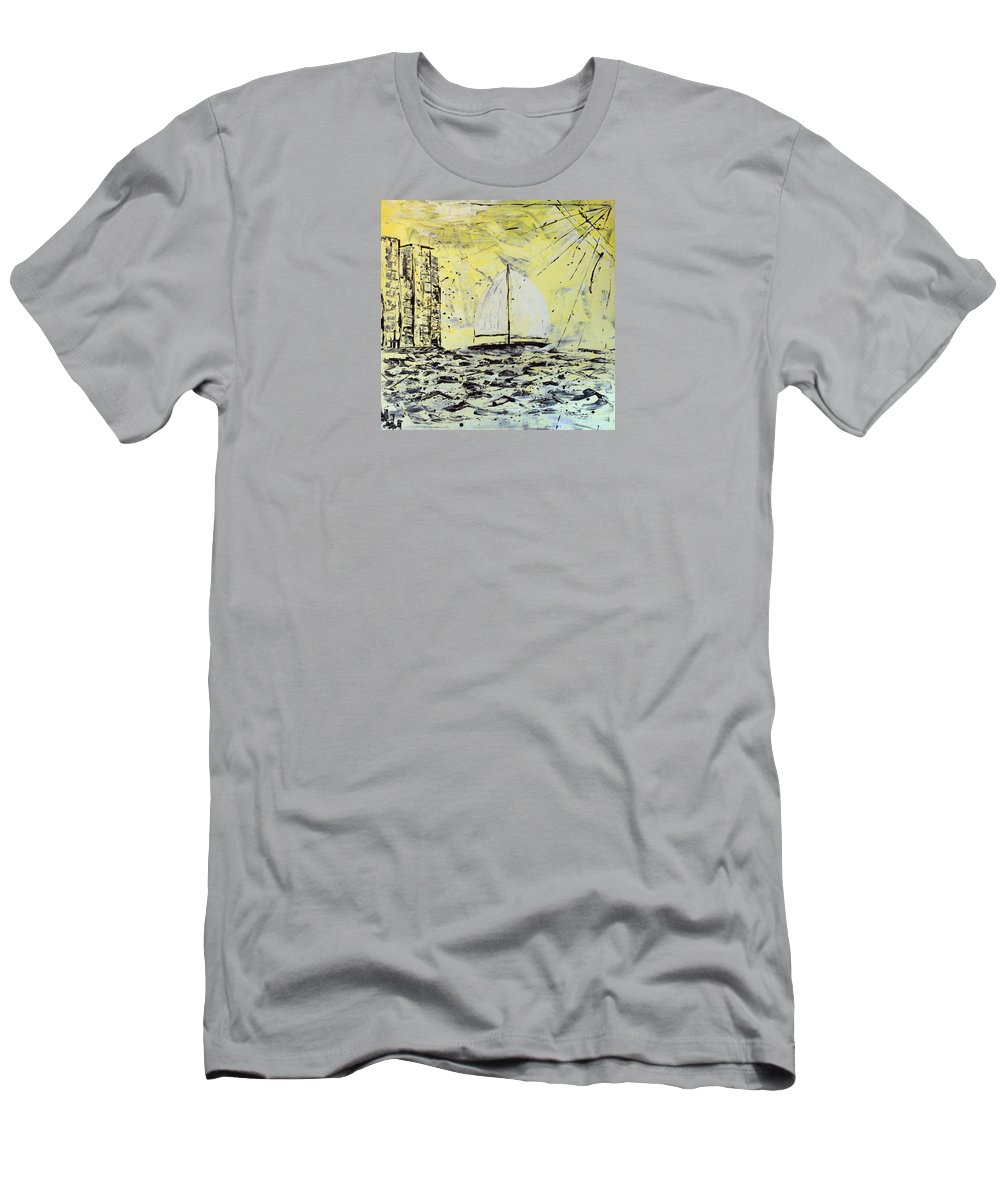 Abstract T-Shirt featuring the painting Sail And Sunrays by J R Seymour