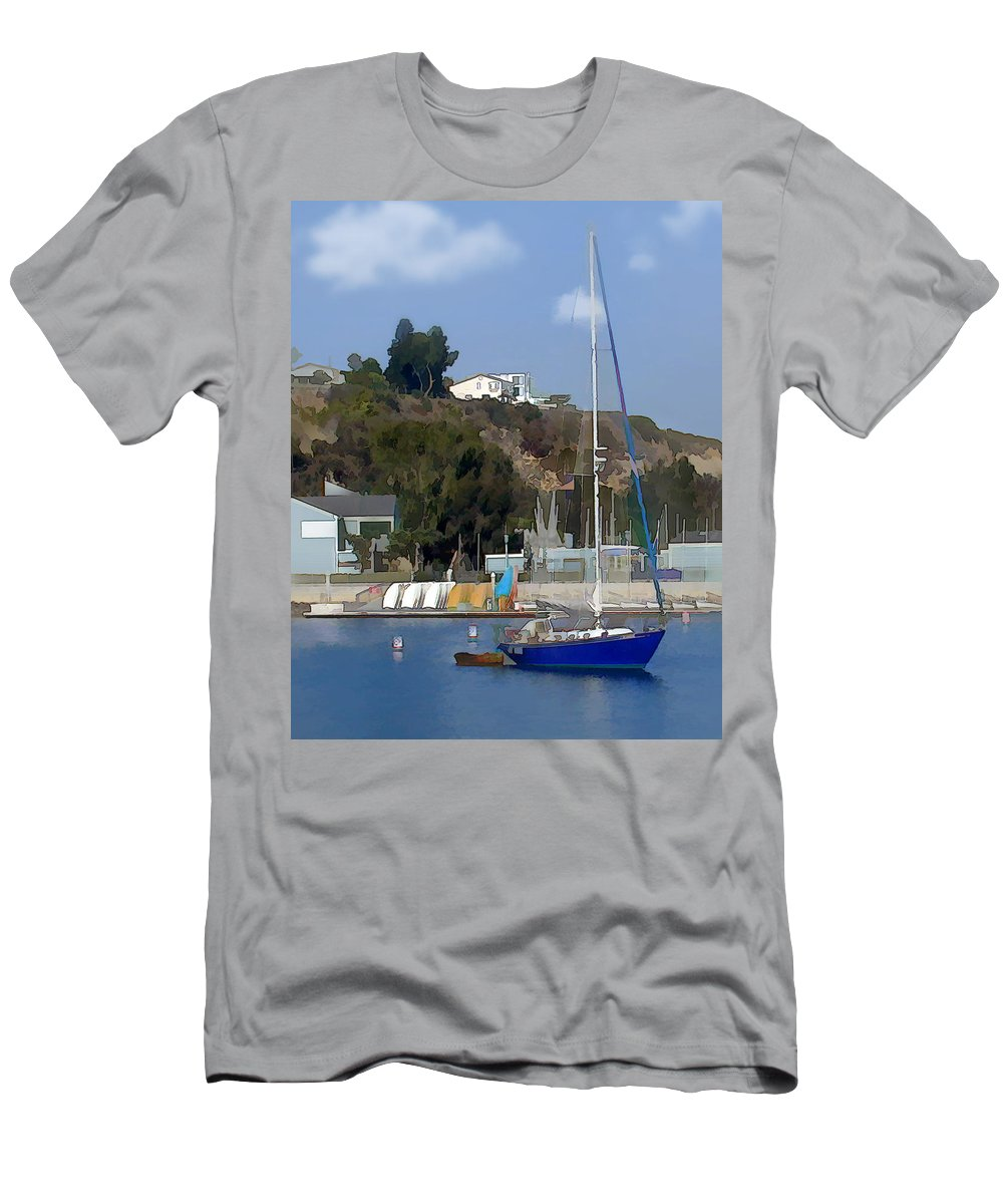 Nature Men's T-Shirt (Athletic Fit) featuring the painting Sailboat At Anchor In Harbor by Elaine Plesser