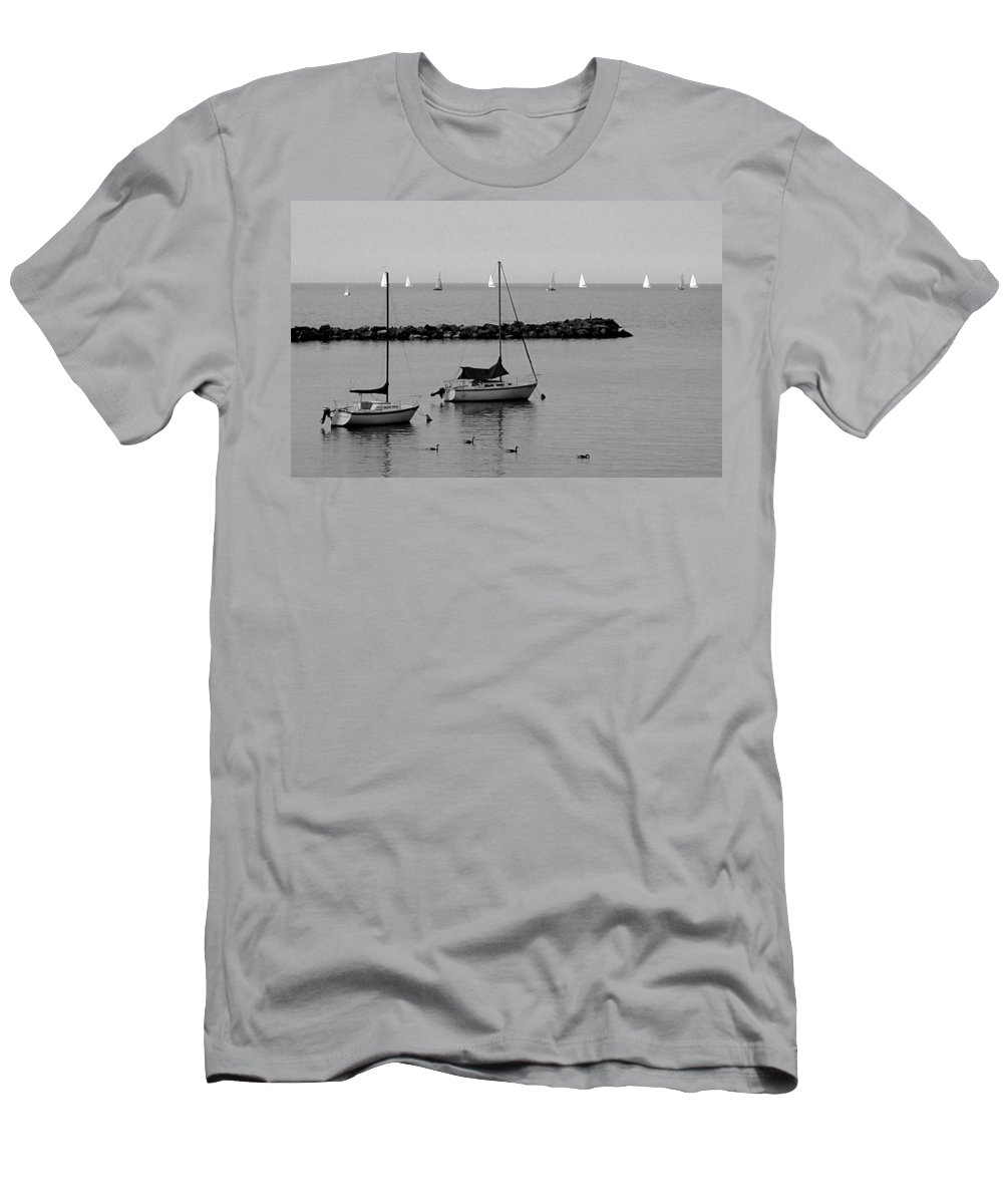 Sailboats Men's T-Shirt (Athletic Fit) featuring the photograph Sailboats And Ducks B-w by Anita Burgermeister