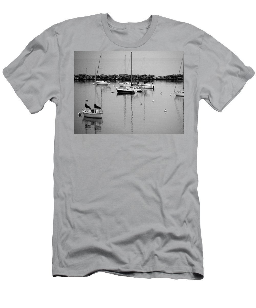 Sailboats Men's T-Shirt (Athletic Fit) featuring the photograph Sailboats Resting B-w by Anita Burgermeister
