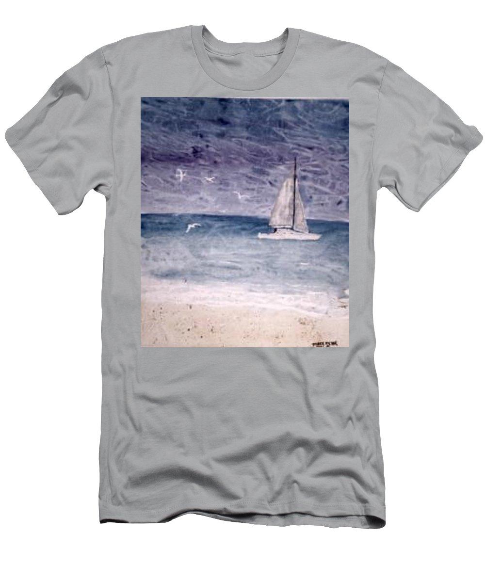 Watercolor Seascape Sailing Boat Landscape Painting Men's T-Shirt (Athletic Fit) featuring the painting Sailing At Night Nautical Painting Print by Derek Mccrea