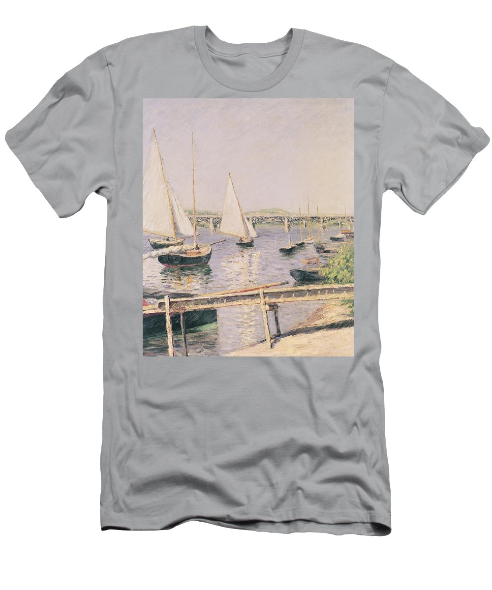 Yachting Men's T-Shirt (Athletic Fit) featuring the painting Sailing Boats At Argenteuil by Gustave Caillebotte