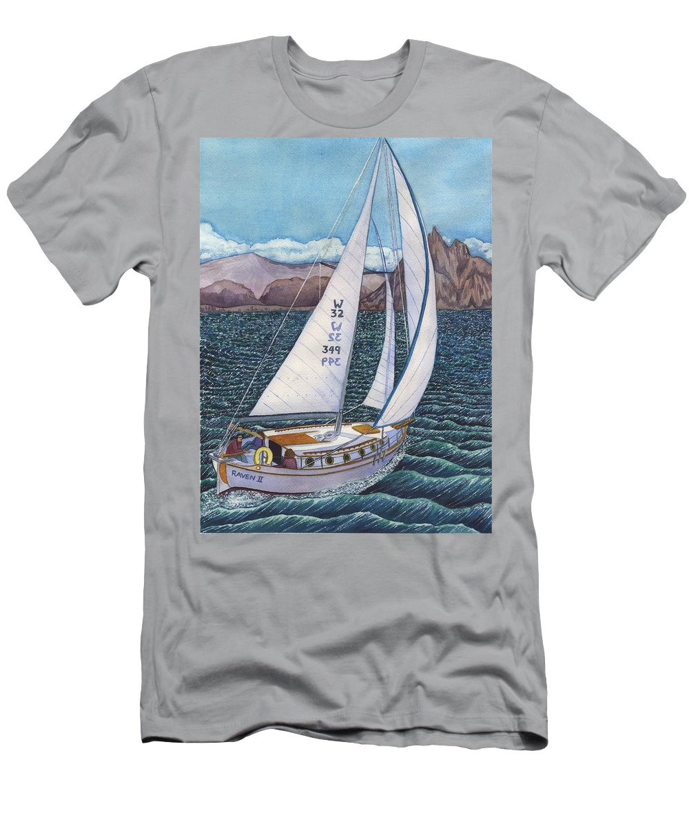 Sailboat Men's T-Shirt (Athletic Fit) featuring the painting Sailing by Catherine G McElroy