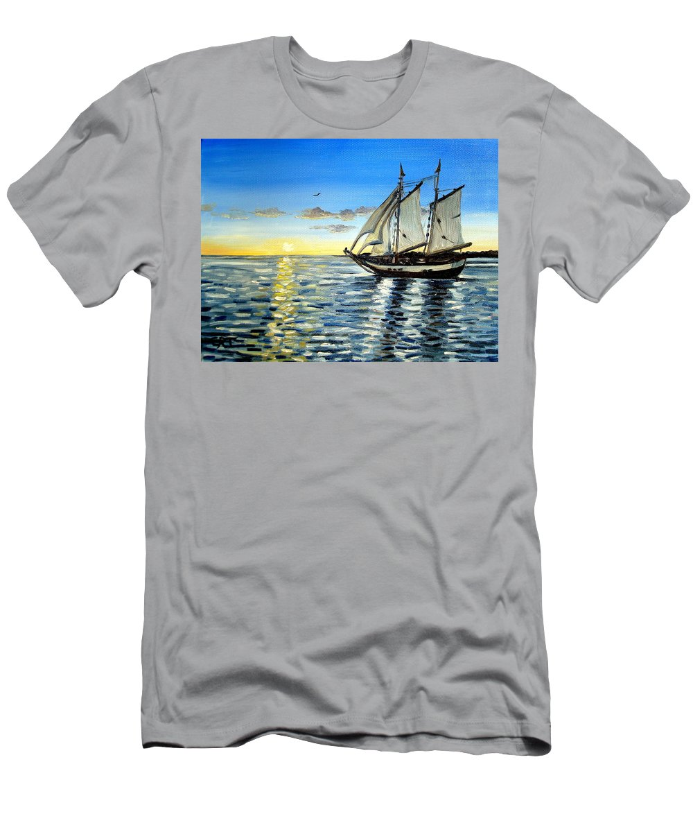 Seascape Men's T-Shirt (Athletic Fit) featuring the painting Sailing Day Sunset by Elizabeth Robinette Tyndall