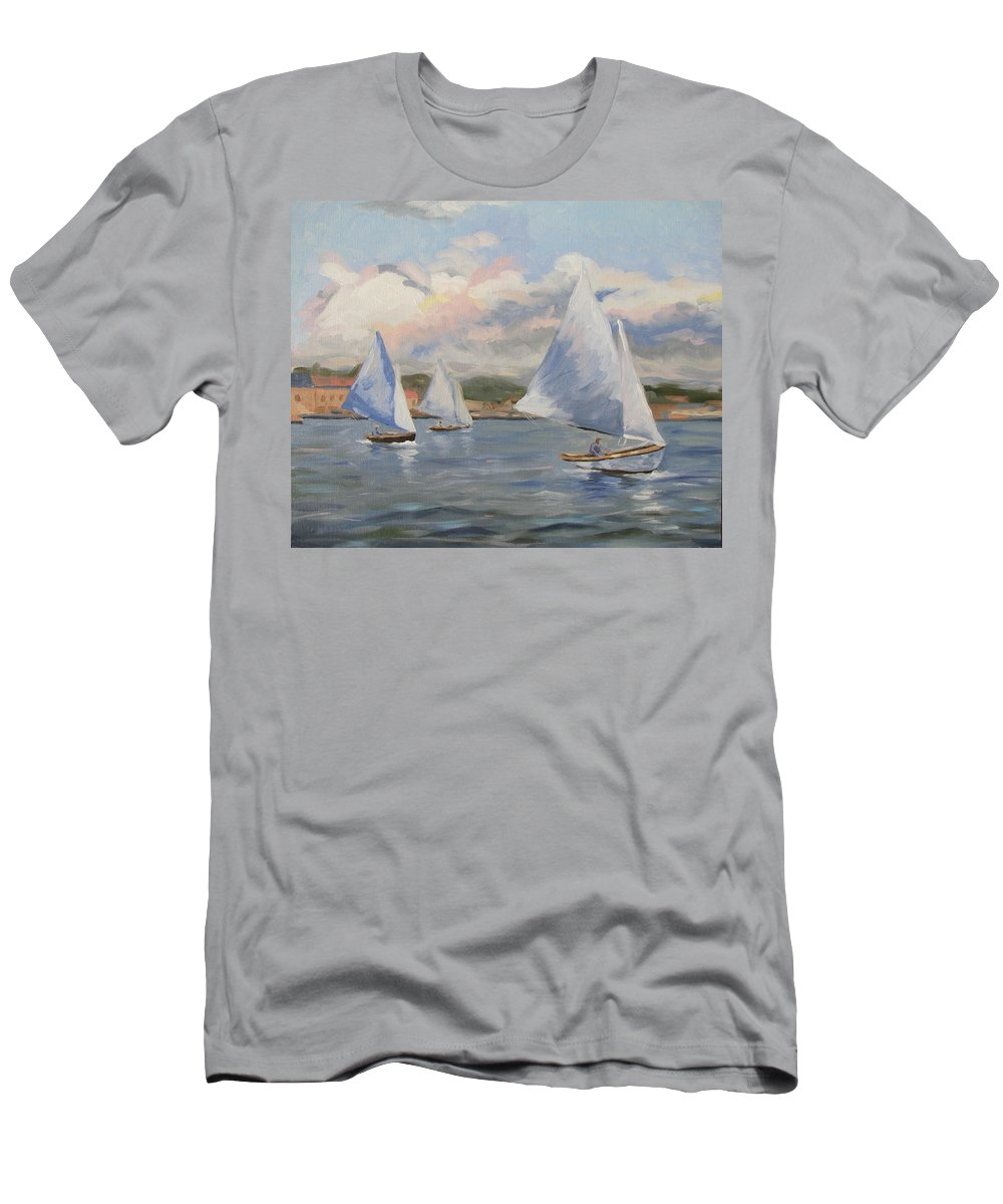 Seascape Men's T-Shirt (Athletic Fit) featuring the painting Sailing Sunday by Jay Johnson