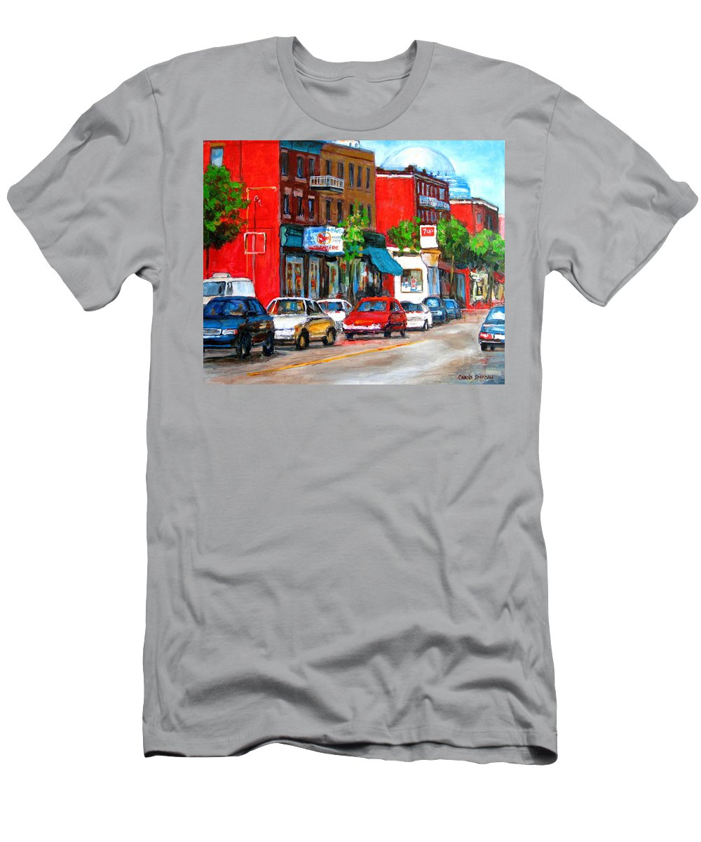 St.viateur Bagel Men's T-Shirt (Athletic Fit) featuring the painting Saint Viateur Street by Carole Spandau
