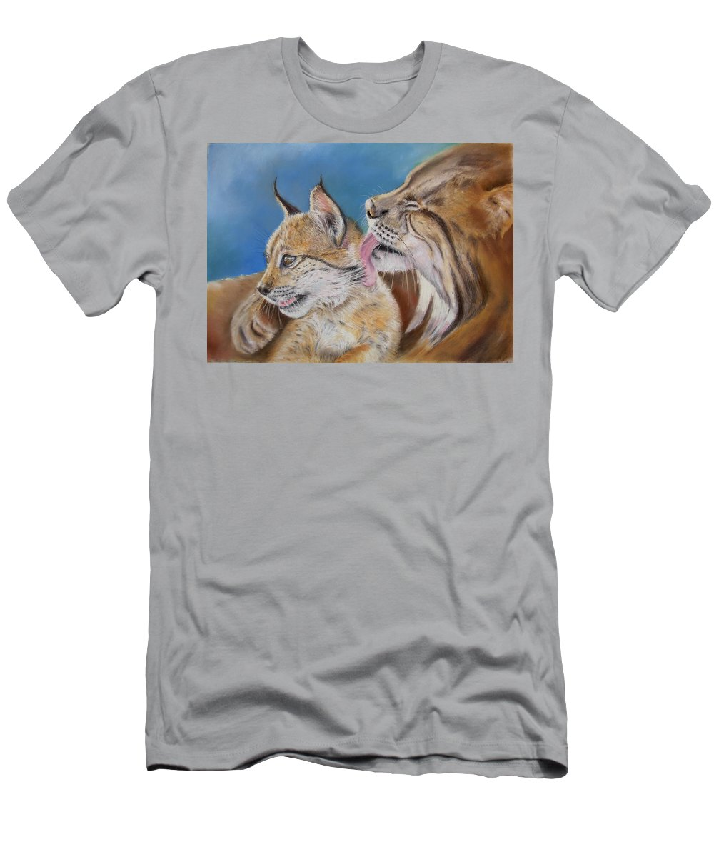 Iberian Lynx Men's T-Shirt (Athletic Fit) featuring the painting Saliega Y Brezo by Ceci Watson