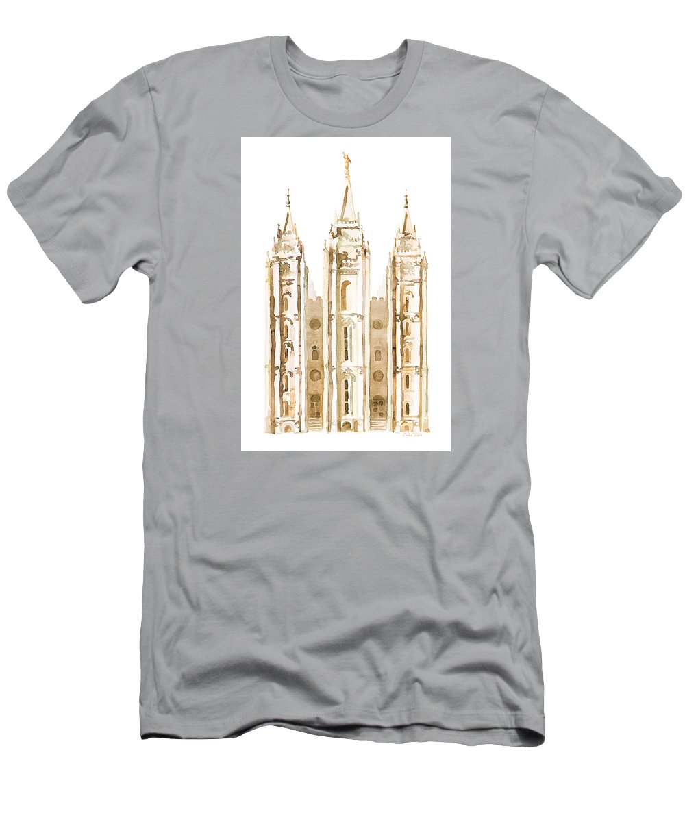 Salt Lake City Temple Men's T-Shirt (Athletic Fit) featuring the painting Salt Lake City Watercolor Sepia by Tausha Coates