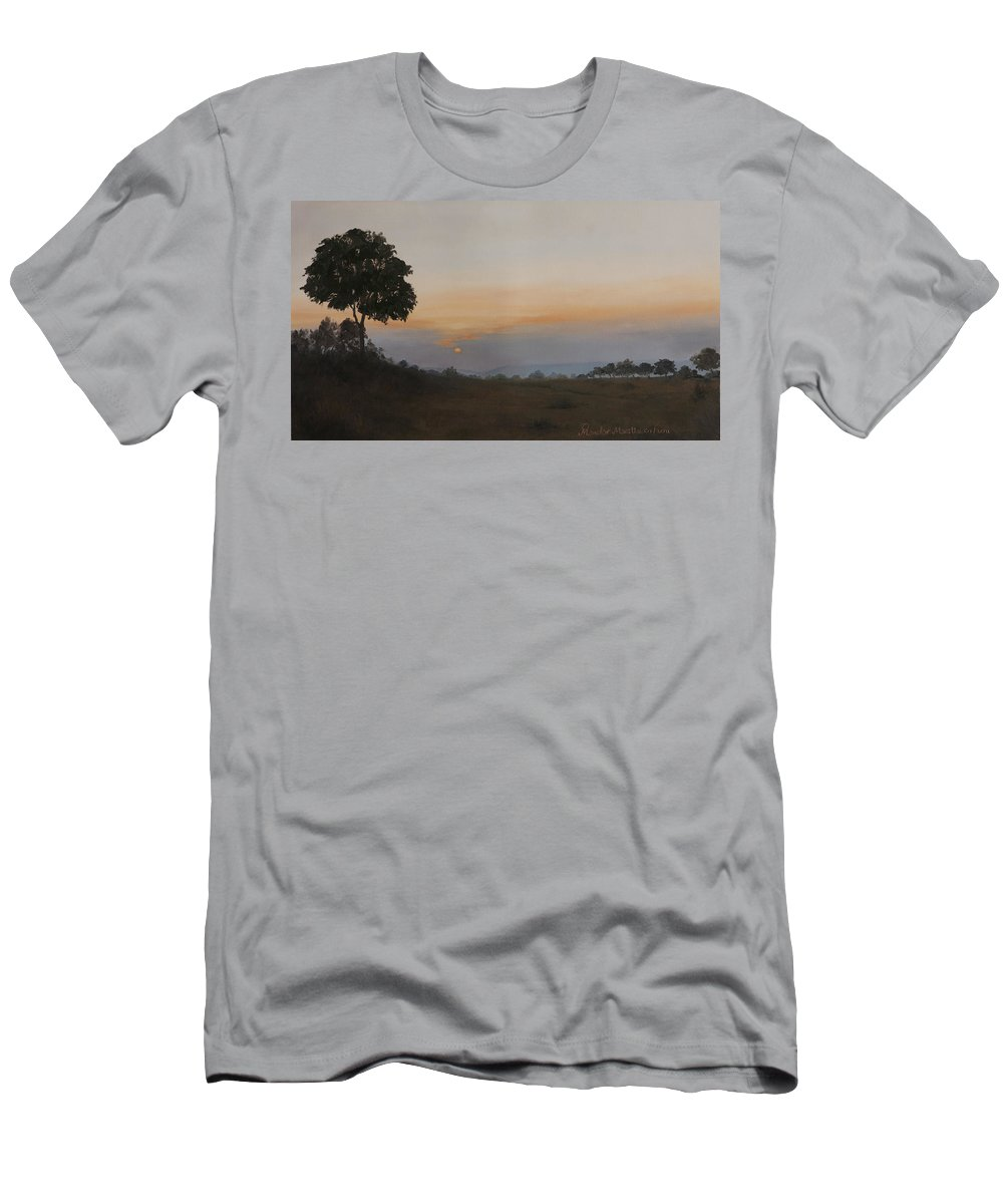 Dawn Men's T-Shirt (Athletic Fit) featuring the painting Salutation To The Dawn by Mandar Marathe