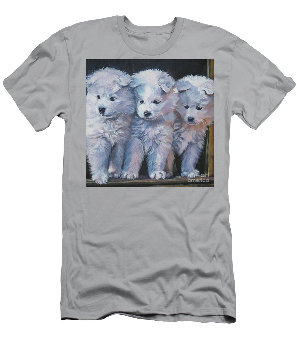 Dog Men's T-Shirt (Athletic Fit) featuring the painting Samoyed Pups by Lee Ann Shepard