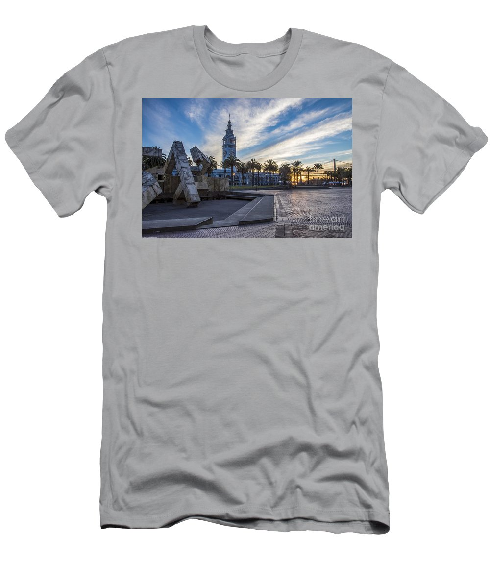 San Francisco Sunrise Men's T-Shirt (Athletic Fit) featuring the photograph San Francisco Sunrise by Mitch Shindelbower