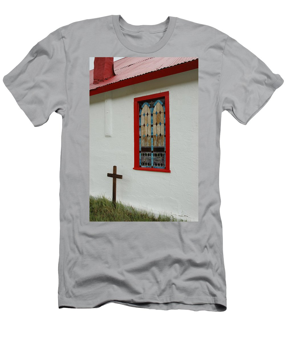 Church Men's T-Shirt (Athletic Fit) featuring the photograph San Iglesia Church Window by Jerry McElroy