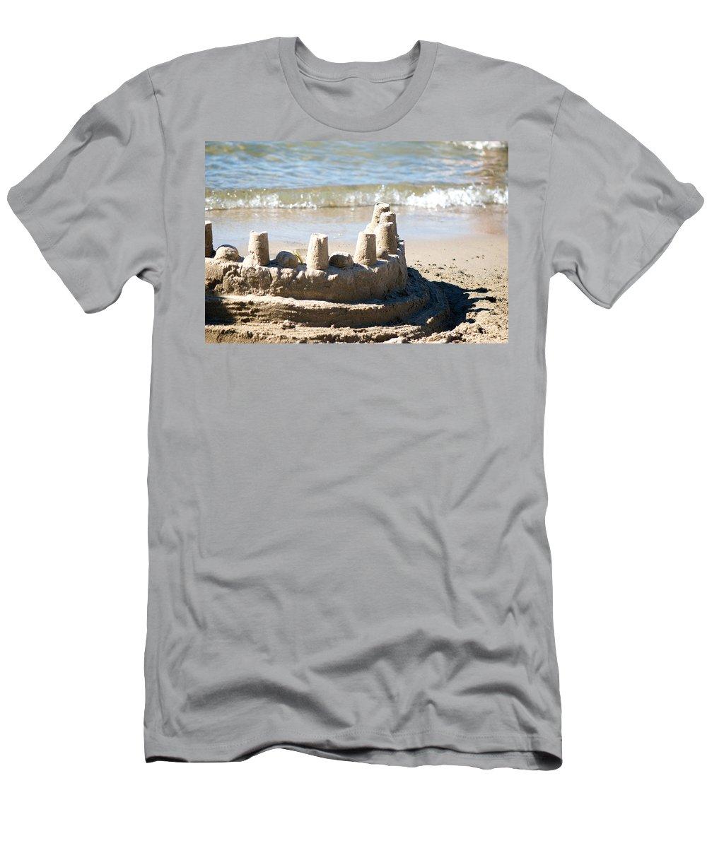 Sand Men's T-Shirt (Athletic Fit) featuring the photograph Sandcastle by Lisa Knechtel