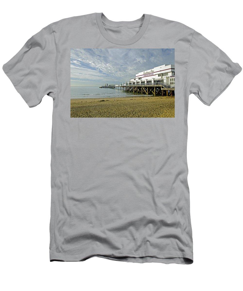 Sandown Men's T-Shirt (Athletic Fit) featuring the photograph Sandown Pier by Rod Johnson