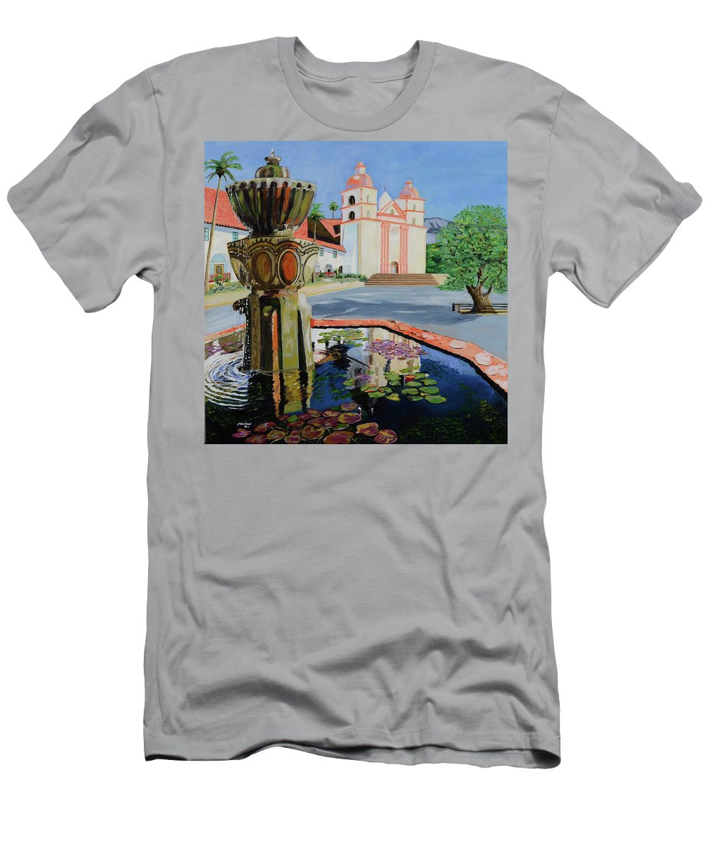 Spanish Men's T-Shirt (Athletic Fit) featuring the painting Santa Barbara Mission by Pamela Trueblood