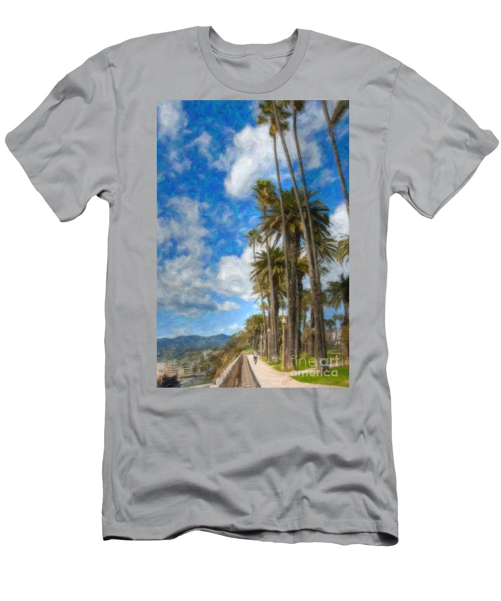 Looking North Men's T-Shirt (Athletic Fit) featuring the photograph Santa Monica Ca Palisades Park Bluffs Palm Trees by David Zanzinger